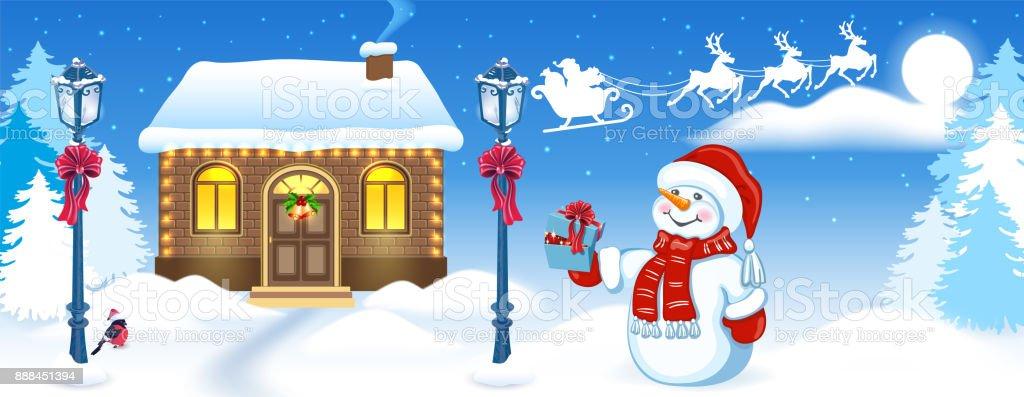 Carte De Noël Avec Latelier Drôle De Bonhomme De Neige Et Du