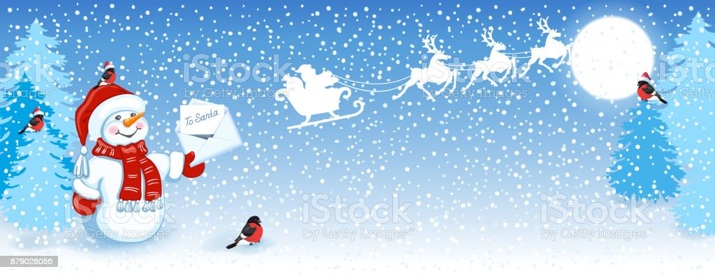 christmas card with funny snowman in santa cap with christmas letter for santa claus against winter - Santa Claus Christmas Cards