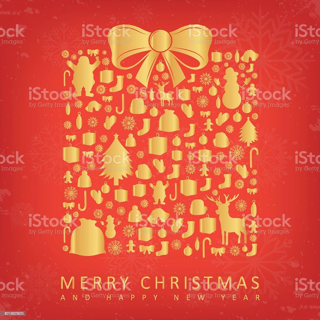 Christmas card with gift box sillhouette and christmas decoration elements. christmas card with gift box sillhouette and christmas decoration elements – cliparts vectoriels et plus d'images de abstrait libre de droits