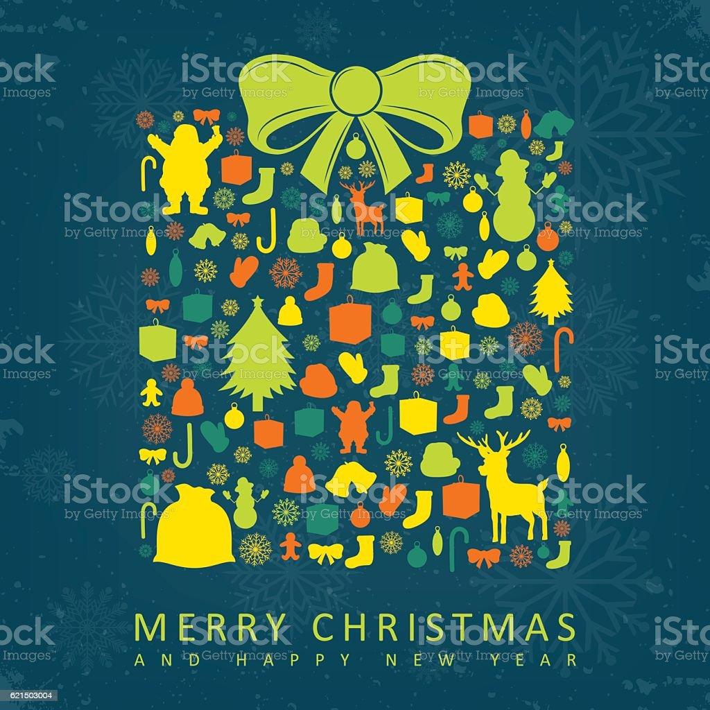 Christmas card with gift box sillhouette and christmas decoration elements. Lizenzfreies christmas card with gift box sillhouette and christmas decoration elements stock vektor art und mehr bilder von abstrakt