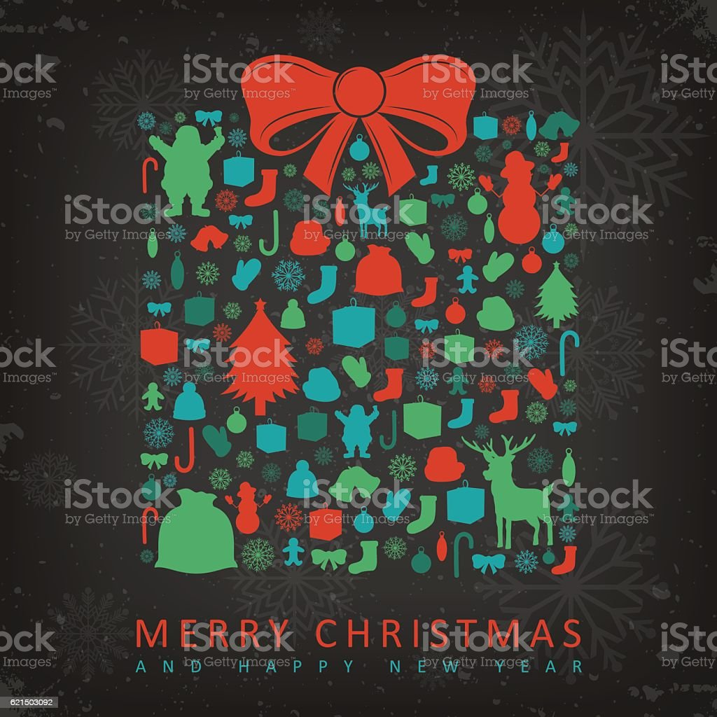 Christmas card with gift box sillhouette and christmas decoration elements. christmas card with gift box sillhouette and christmas decoration elements – cliparts vectoriels et plus d'images de abstrait libre de droits