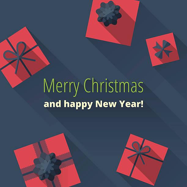kartka świąteczna z prezent pola - new year stock illustrations