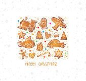 Christmas card with gingerbread cookies in shape of toys: plane, submarine, steam train etc.