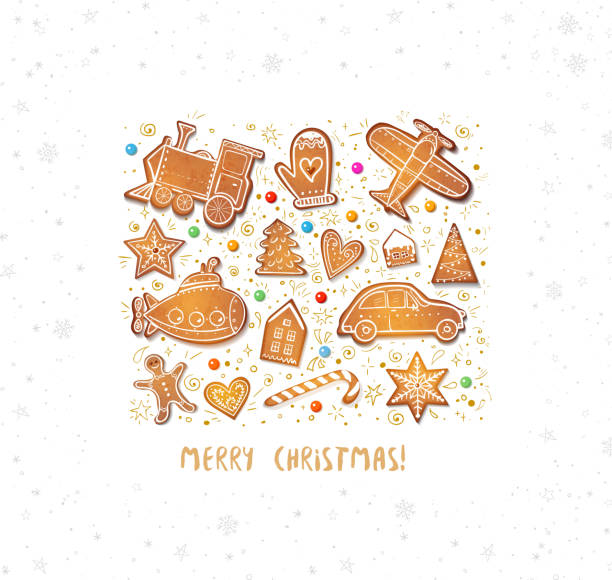 Christmas card with gingerbread cookies in shape of toys: plane, submarine, steam train etc Christmas card with gingerbread cookies in shape of toys: plane, submarine, steam train etc. bread borders stock illustrations