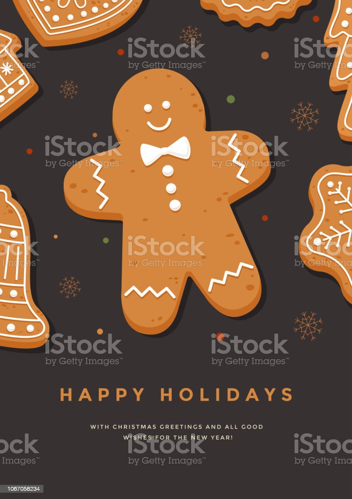Christmas card with gingerbread man and inscription Happy Holidays. Template for design of your holiday cards. Vector illustration. Baked stock vector