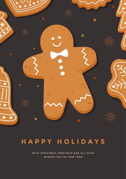 ilustraciones, imágenes clip art, dibujos animados e iconos de stock de tarjeta de navidad con hombrecito e inscripción felices fiestas. - gingerbread man