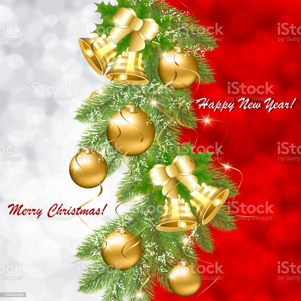Christmas Card With Golden Balls And Bells On A Branch Of A