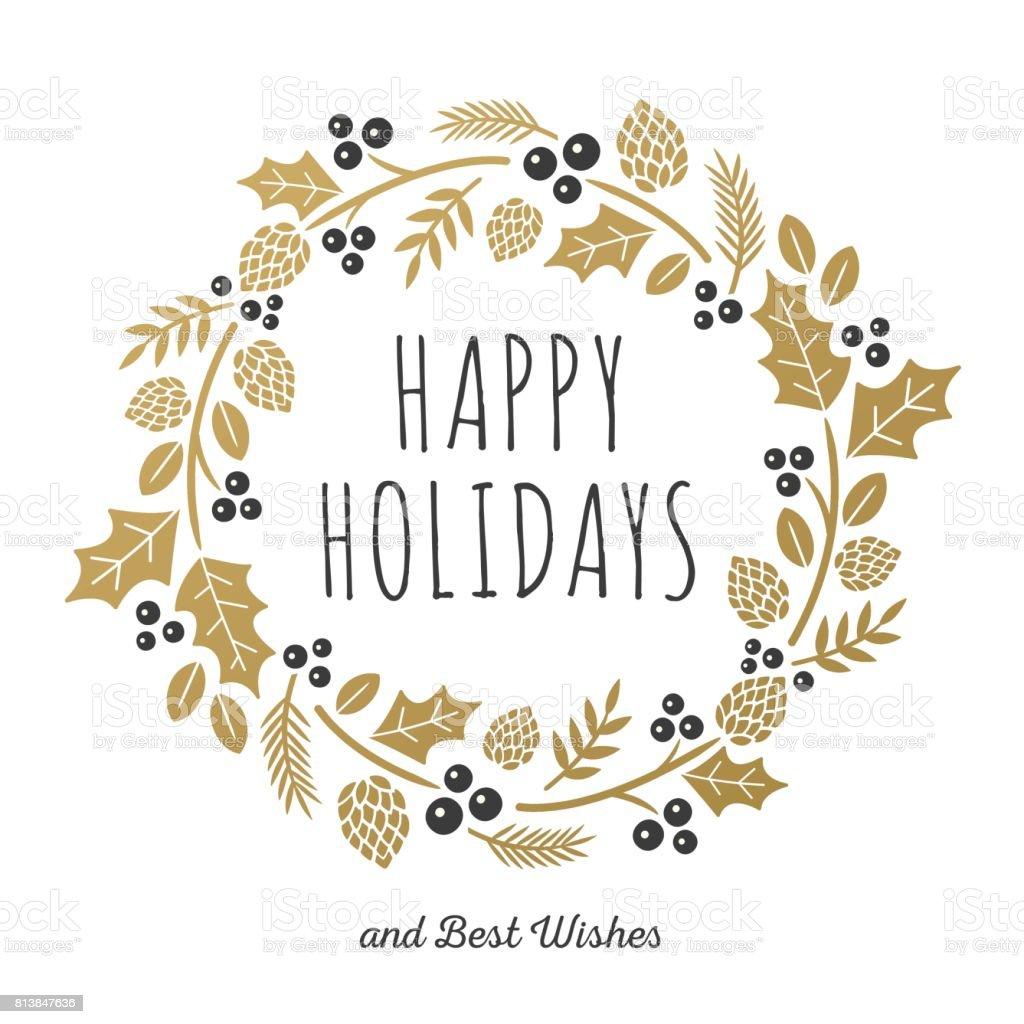 Weihnachtskarte mit goldenen Kranz – Vektorgrafik