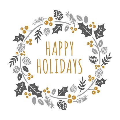 Christmas card with hand drawn wreath.