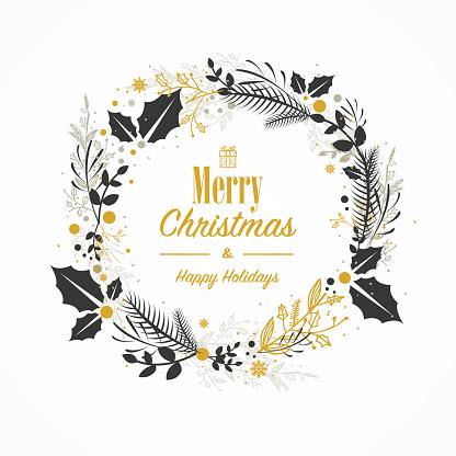 Christmas card with hand drawn wreath
