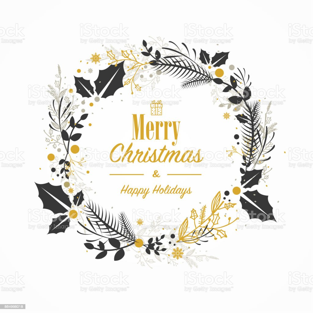 Christmas card with hand drawn wreath vector art illustration
