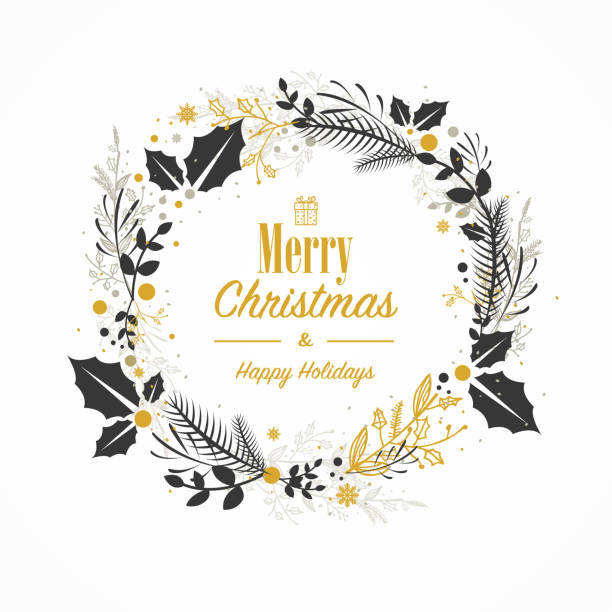 Top 60 Christmas Wreath Clip Art Vector Graphics And Illustrations
