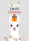 Christmas card with llama. Merry Christmas card
