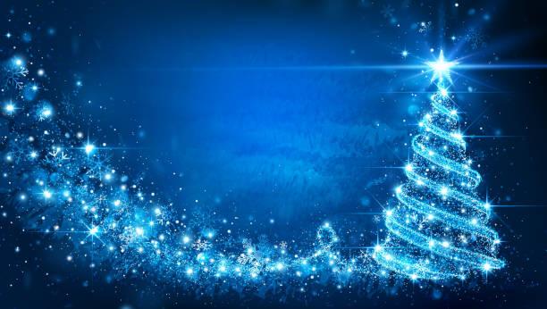 Christmas card with Magic Tree. Vector Christmas card with Magic Tree blue color. Vector illustration christmas trees stock illustrations