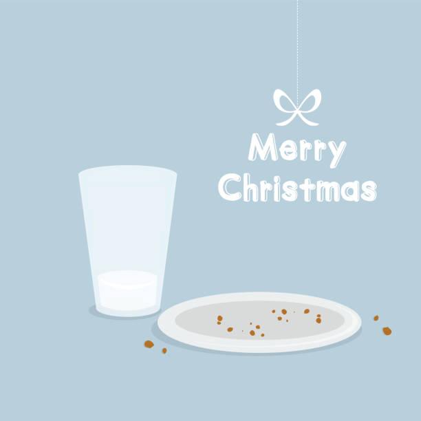 bildbanksillustrationer, clip art samt tecknat material och ikoner med julkort med mjölk och kakor för santa claus - empty plate