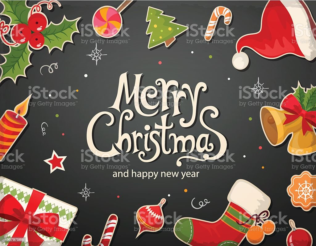 Christmas card with objects and text vector art illustration