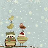 Christmas card a branch with owl and birds