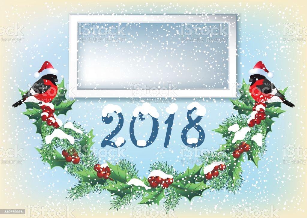 Weihnachtskarte Mit Fotorahmen Garland Und Zwei Gimpel Im Retrostil ...