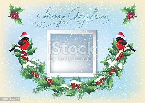 istock Christmas card with  photo frame, garland and two bullfinches  in retro style 839786674