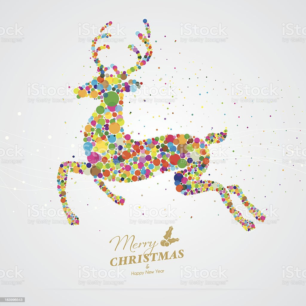 Christmas card with pixelated colourful reindeer royalty-free stock vector art