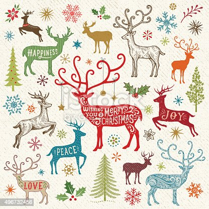 Christmas card-background with reindeers,christmas trees,holly,snowflakes and greetings.EPS 10 file with transparencies.File is layered with global colors.More works like this linked below.