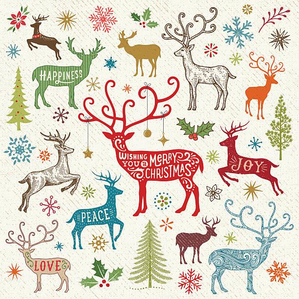 illustrations, cliparts, dessins animés et icônes de carte de noël avec motif renne - renne