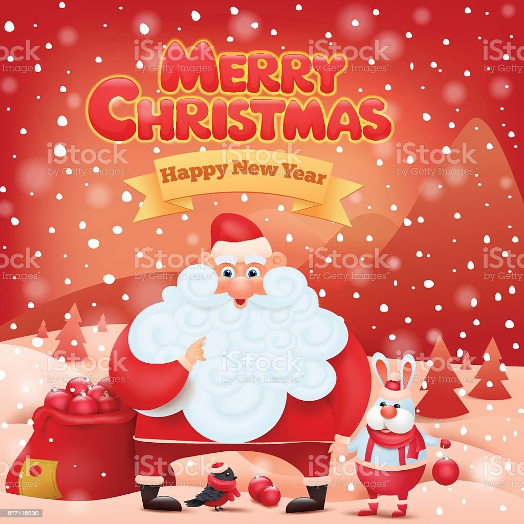 Christmas Card With Santa Claus And Funny Animals Stock Vector Art