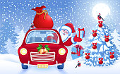 Christmas card with Santa Claus in red car with gift box and bag against winter forest background. New Year design postcard in retro style.