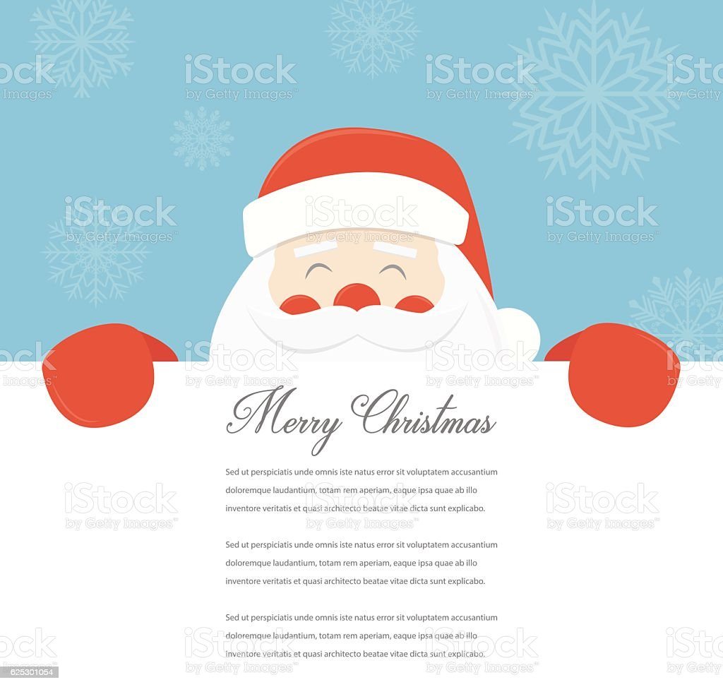 Christmas Card with Santa Claus. Template with copy space. Vector - Illustration vectorielle