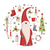 Christmas card with  Santa Claus on white background. Vector  illustration.