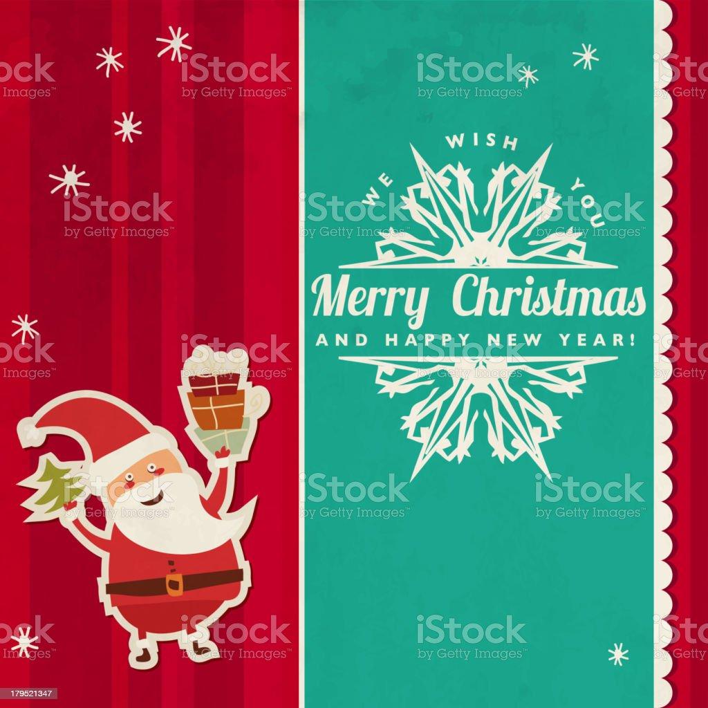 Christmas Card with Santa Claus royalty-free stock vector art