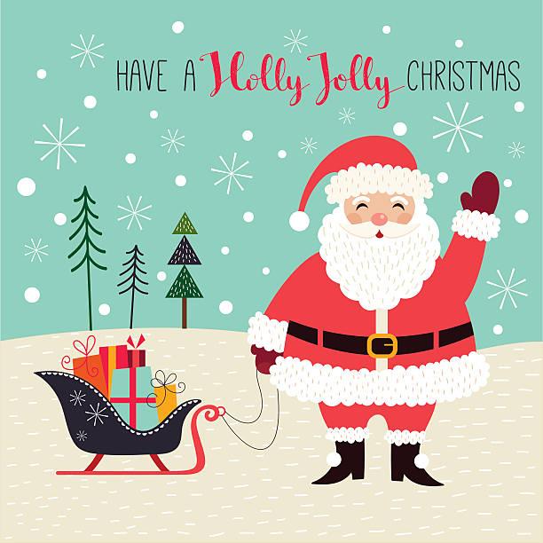 weihnachtskarte mit santa - pelzmäntel stock-grafiken, -clipart, -cartoons und -symbole