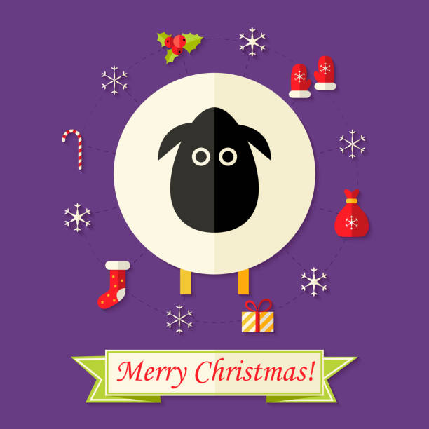 Christmas Card with Sheep over Purple Illustration of Christmas Card with Sheep over Purple formal glove stock illustrations