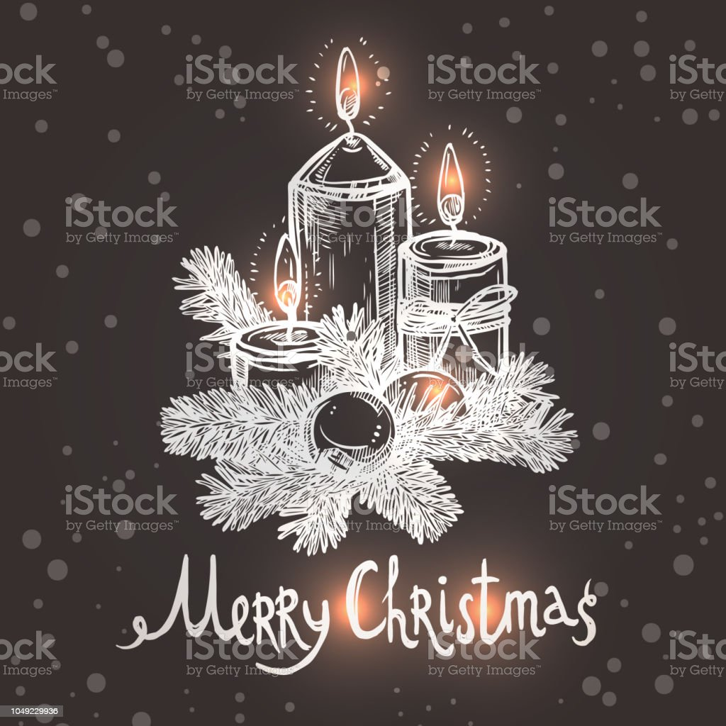 Christmas Card With Sketch Candles On The Chalkboard vector art illustration