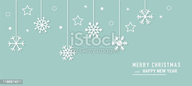 istock Christmas card with snowflake border vector. Xmas snow flake pattern. Festive christmas card. Isolated illustration white background. 1188974011