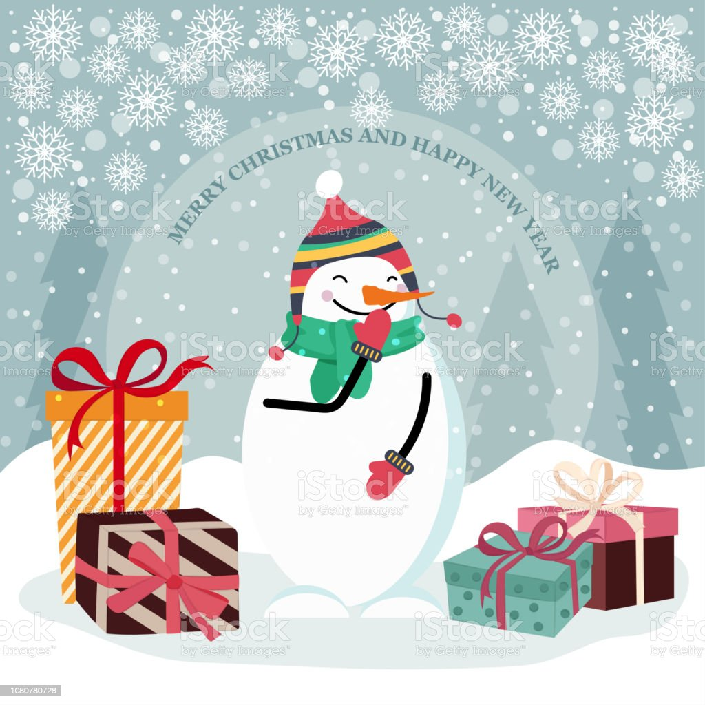 Christmas Card With Snowman And Gift Boxes Stock Vector Art More