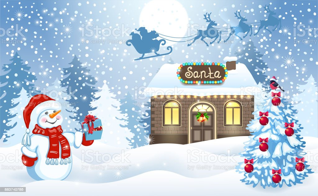 christmas card with snowman and santas workshop against forest background and santa claus in sleigh with - Snowman Santa