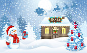 Christmas card with funny Snowman holding gift box and Santa's workshop against winter forest background and Santa Claus in sleigh with reindeer team flying in the moon sky. New Year design postcard.