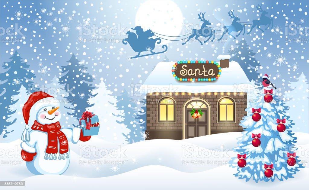 Carte de Noël avec l'atelier de bonhomme de neige et du père Noël sur fond de forêt et père Noël en traîneau avec l'équipe de Rennes voler dans le ciel - Illustration vectorielle