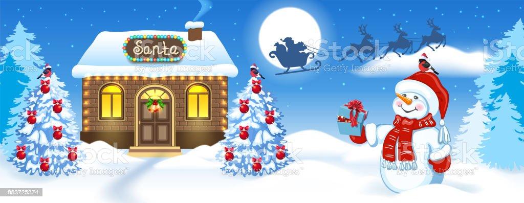 Carte de Noël avec bonhomme de neige, maison en brique et atelier du père Noël sur fond de forêt de hiver et père Noël en traîneau avec l'équipe de Rennes voler dans le ciel de la lune - Illustration vectorielle