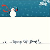 Christmas card with snowman. Christmas card with lettering. Seamless snowflake pattern on background.
