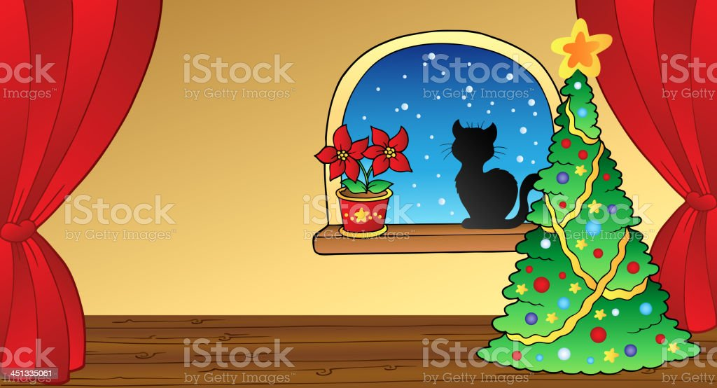 Christmas card with tree and cat royalty-free stock vector art