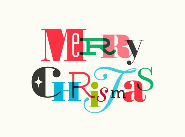 ilustrações, clipart, desenhos animados e ícones de cartão de natal com cumprimentos do typography - font