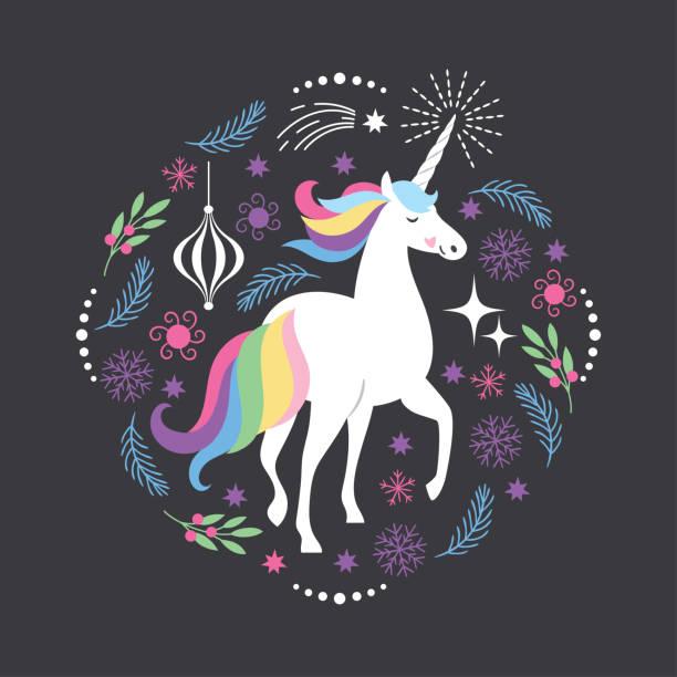 ilustraciones, imágenes clip art, dibujos animados e iconos de stock de tarjeta de navidad con unicornio - unicornio