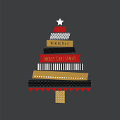 Holiday card with christmas tree in Washi Tape.