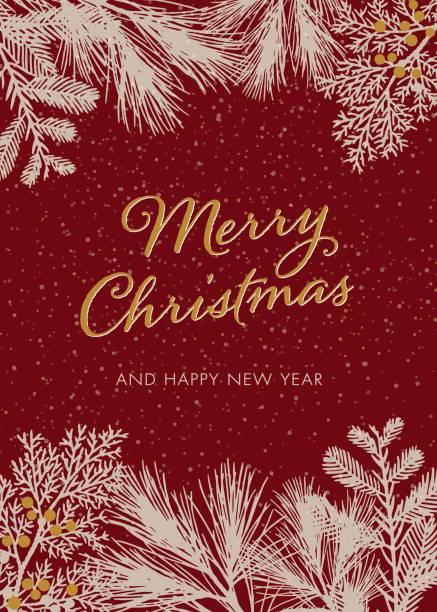 weihnachtskarte mit weißen immergrünen silhouetten - palettenbilderrahmen stock-grafiken, -clipart, -cartoons und -symbole