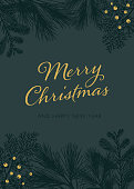 Christmas Card with White Evergreen Silhouettes - Illustration