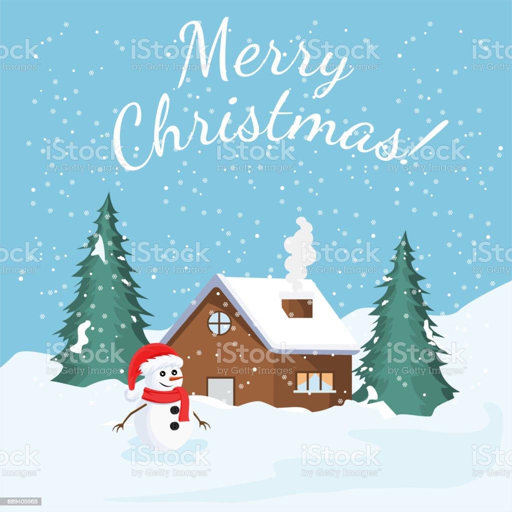 Weihnachtskarte Mit Winterlandschaft Und Schnee Baum Haus Und Einen ...