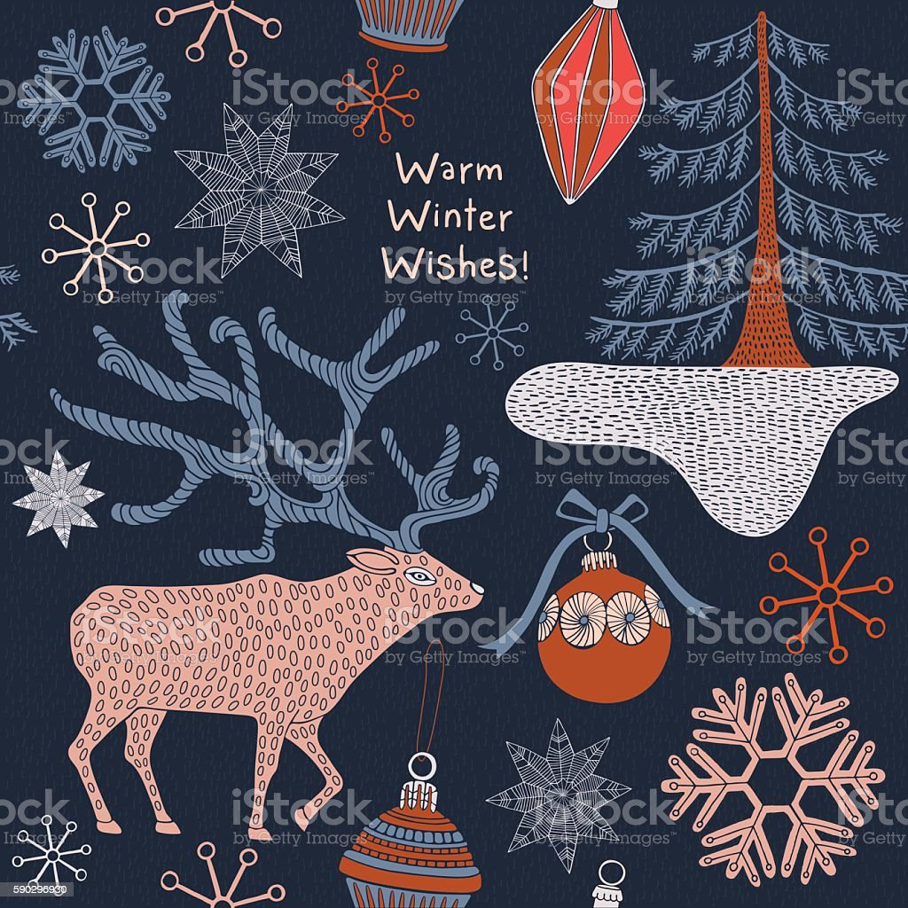 Christmas card with winter trees and deer. royaltyfri christmas card with winter trees and deer-vektorgrafik och fler bilder på bildbakgrund