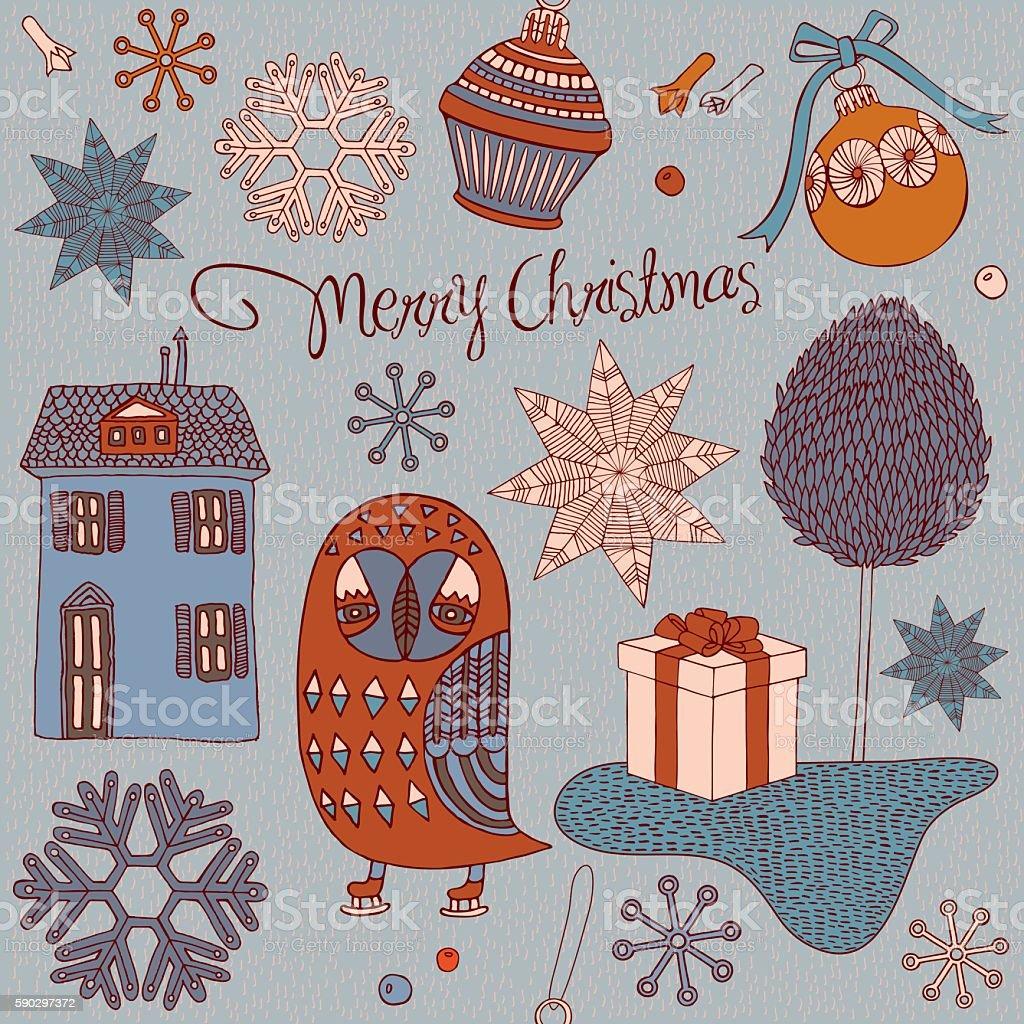 Christmas card with winter trees and owl. royaltyfri christmas card with winter trees and owl-vektorgrafik och fler bilder på bildbakgrund